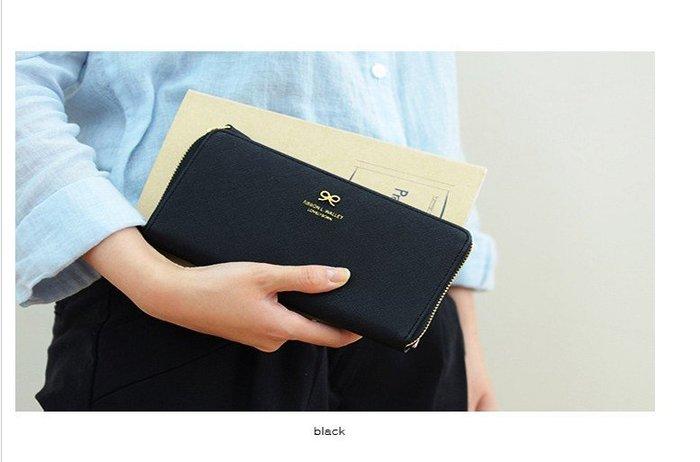 Cutie-Newbag【AA055】韓國donbook正品甜美氣質可人蝴蝶結長款錢包拉鍊長錢包現貨