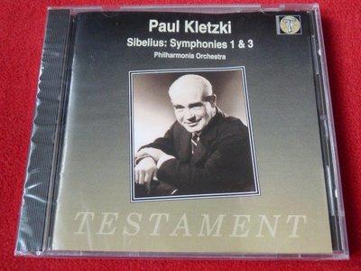 西貝留士:第1、3號交響曲/Kletzki/Testament/全新未拆封