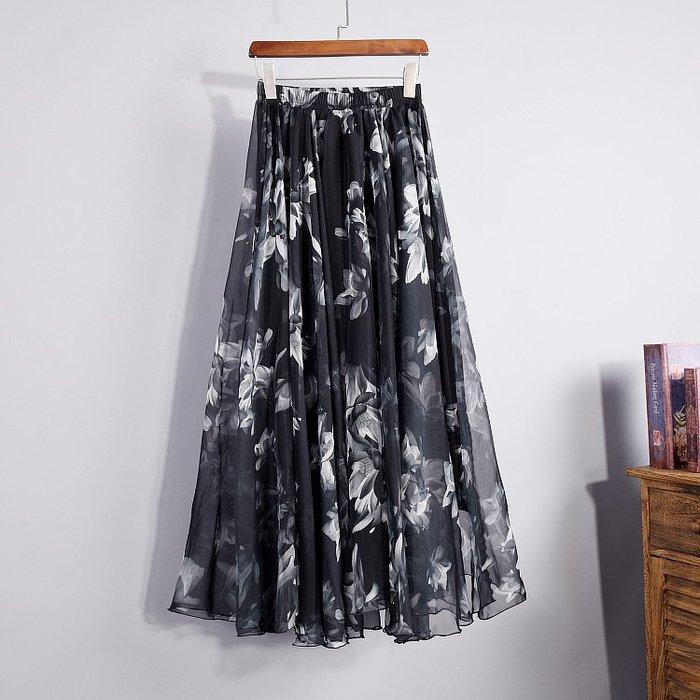 碎花半身裙雪紡半身裙夏時尚碎花半身長裙春女春季新款潮中長款大擺紗裙子碼  柳風向