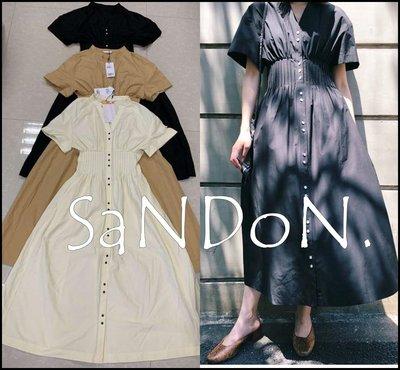 SaNDoN x『MOUSSY』夏季新款 實拍 正規品縮腰亨利領V領復古百摺洋裝 SLY 韓妮 190517