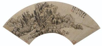 藍瑛 (1585-1666)  藍瑛 山水水墨金箋 扇面 鏡框17 x 52.5 公分.2014香港蘇富比拍品