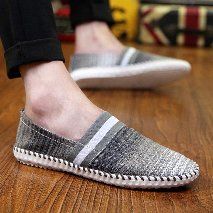 衣萊時尚-熱賣款 夏季帆布男士休閑韓版潮流透氣不系帶一腳蹬懶人布鞋男鞋豆豆潮鞋