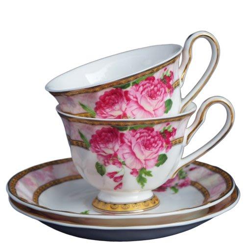 現貨/ 古典玫瑰粉色大理石骨瓷咖啡杯 咖啡對杯 兩杯兩盤  禮盒組 下午茶杯 午茶組