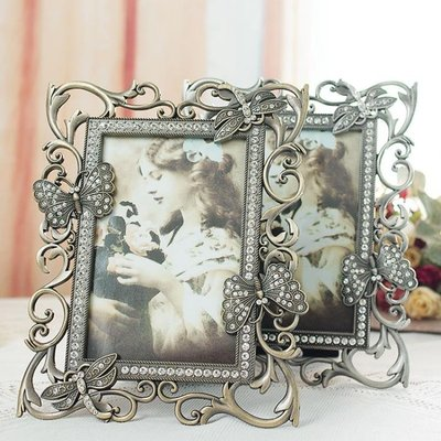 復古歐式蝴蝶相框擺臺6寸六寸創意桌擺照片框婚紗照相片框相架
