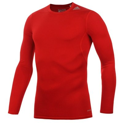 ADIDAS愛迪達 男 TF BASE LS 長袖上衣 緊身衣 深紅色  D82061 台北市