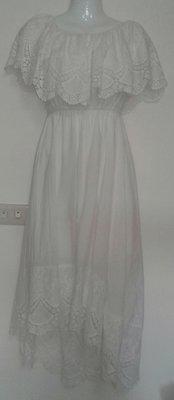 洋裝 白色 夏天 純棉  雷斯 透氣 無袖 Mysterious Color  前短後長  長洋裝 沙灘美衣  原價3千多