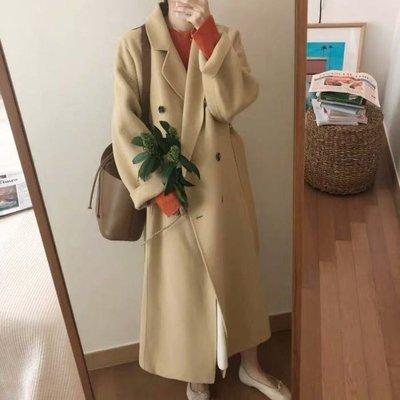 自留❤️韓國經典雙排扣暖黃羊毛呢大衣Gssaw.AJ【AZ1288】