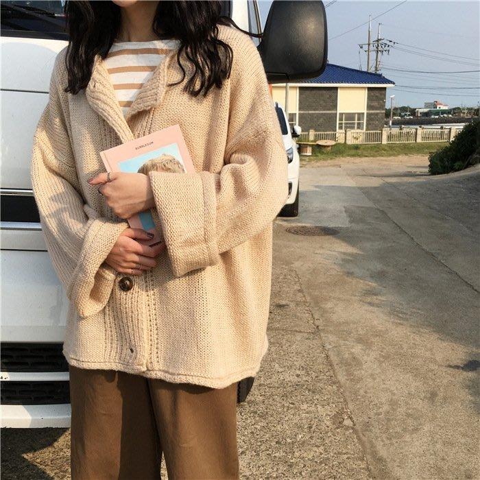 秋季韓版學院風新款純色單排扣開衫外套寬鬆百搭針織衫毛衣女