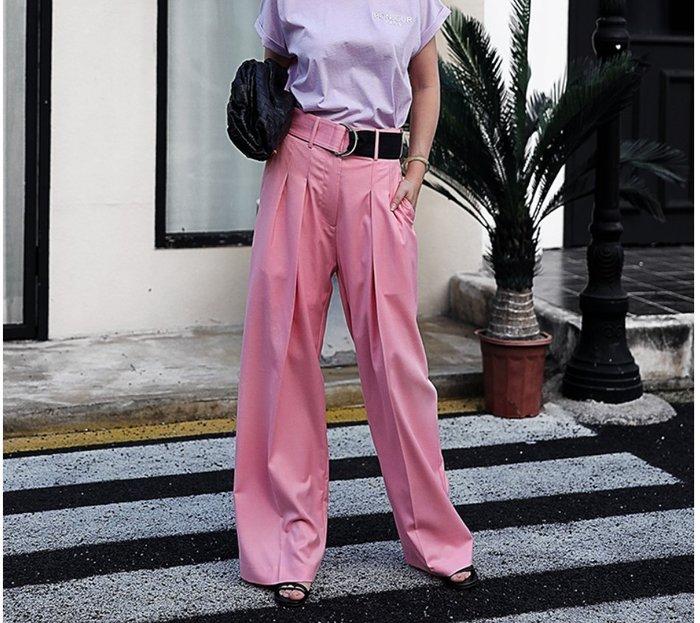 【鈷藍家】小眾品牌獨立原創設計寬松雙褶子設計師款直筒闊腿長褲女歐美薄款羊毛休閑西裝褲z