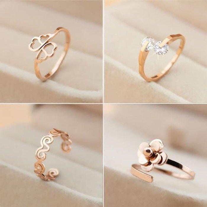 尾戒指女鍍18k玫瑰金鑲鑽鈦鋼日韓彩金食指個性學生小指戒指環