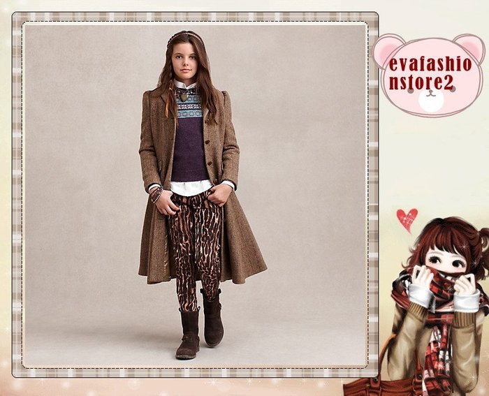 【USA美國精品時尚小舖】Polo Ralph Lauren 大女童高質感美麗豹紋長褲