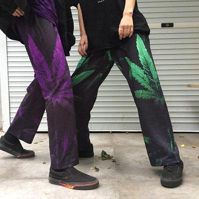 夏季韓國原宿情侶款樹葉設計寬松百搭休閑長褲 闊腿褲女