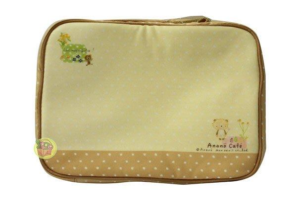 【JPGO】出清~日本進口 穴原里映 Anano Cafe 可愛動物 點點棉布手提小物袋~黃#352