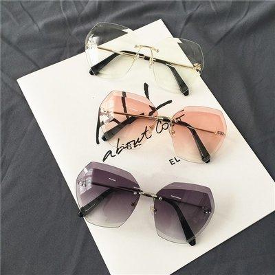 韓版透明方形切邊鏡片太陽鏡顯瘦圓臉金屬時尚墨鏡漸變眼鏡潮男女