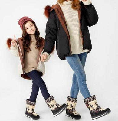 雪靴 短靴 馬丁靴 安全鞋 加絨親子鞋 兒童女棉靴防水加厚中筒雪地鞋保暖冬靴 韓版童靴—莎芭