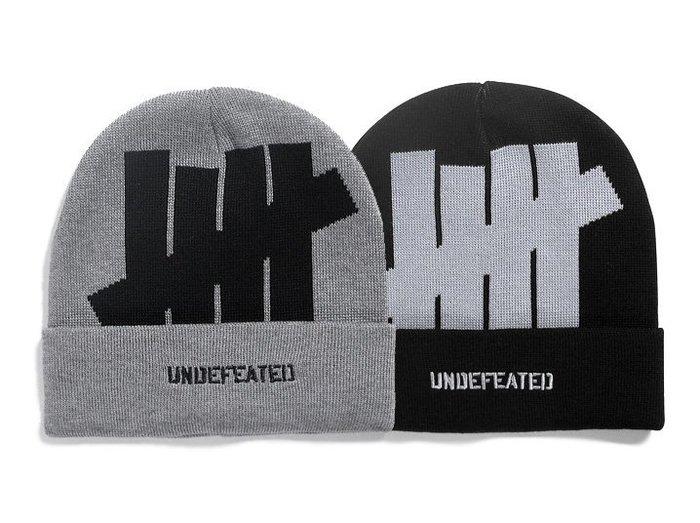 【 超搶手 】 全新正品 UNDEFEATED 5 STRIKE HO15 CUFF BEANIE 反摺毛帽 黑色 灰色