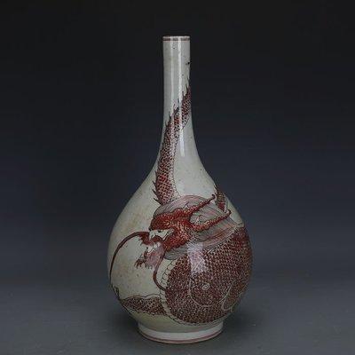 ㊣姥姥的寶藏㊣ 大清康熙年製釉里紅龍紋膽瓶 柴窯全手工  古瓷 古玩古董收藏擺件