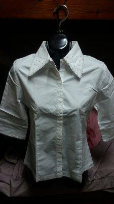 全新白色鑽領OL款七分袖襯衫