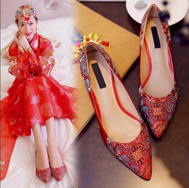 結婚鞋 新款 單鞋民族風秀禾中式新娘鞋高跟婚禮大碼婚鞋—莎芭