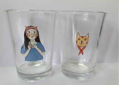 全新 博客來 罐頭 貓與女子對杯(兩入一組)盒裝