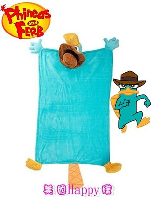 現貨☆ ╮美國Happy購╭☆ Perry 泰瑞 Phineas & Ferb 飛哥與小佛 立體特務P造型偶毯