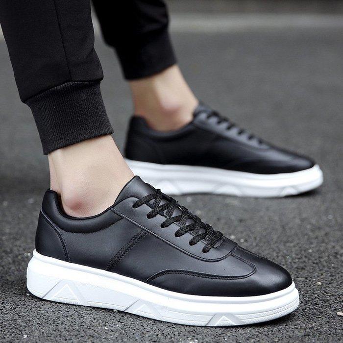 時尚男鞋學生板鞋男韓版潮流秋季男士小白鞋2017松糕跟系帶男鞋