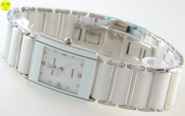 (六四三精品)范侖鐵諾(真品)真陶瓷錶帶.不銹鋼錶殼.蝴蝶雙開錶扣.精準錶..男白!