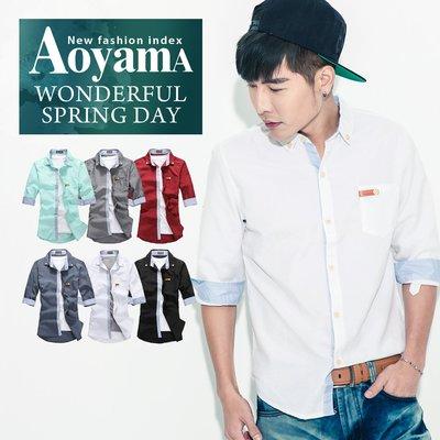 七分袖襯衫 韓版都會雅痞素面皮標七分袖襯衫【X82075】青山AOYAMA