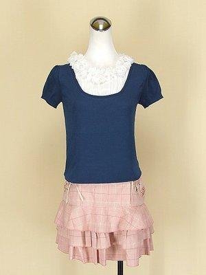 貞新 寶藍玫瑰圓領短袖假兩件雪紡紗棉質上衣F號+2nd skin 專櫃 粉紅格紋棉質蛋糕裙M號(45047)
