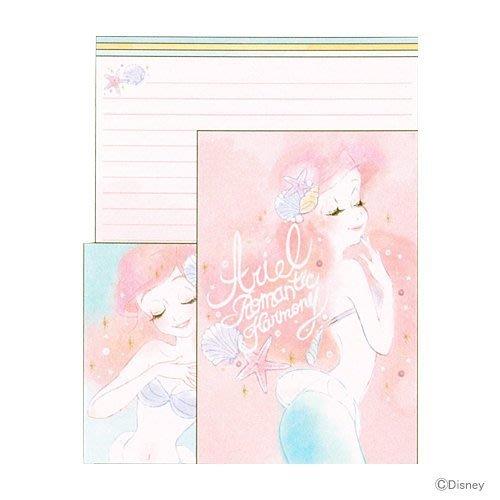 迪士尼Disney《現貨》小美人魚 愛麗兒公主 燦爛秀髮信紙信封組~日本製~心心小舖