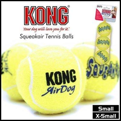 美國KONG 《啾啾叫超好玩AST2》寵物啾啾叫小顆黃網球玩具-三顆一組 (M)