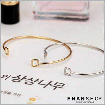 惡南宅急店【0326B】韓國熱賣款 簍空方形 手環 開口金屬手環