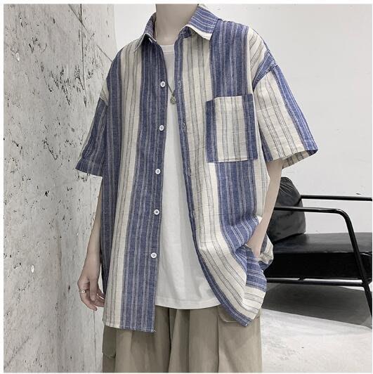 FINDSENSE X 男士條紋短袖襯衫夏季男學生上衣情侶襯衣 休閑外套襯衫