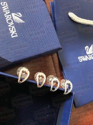 【菲比代購&歐美精品代購專家】SWAROVSKI 施華洛世奇 奧地利 扭結設計耳環 鑲崁水晶 雙色 超好看 氣質大方