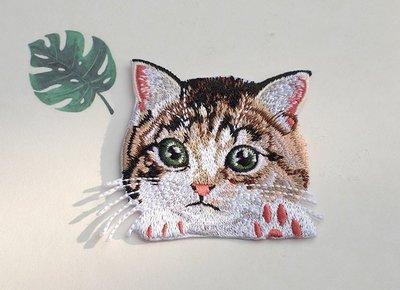 可愛貓咪燙布貼-A5 (有背膠) ※ 貼布/刺繡/臂章/熨燙徽章/補丁/布章/電繡/貼花/小貓