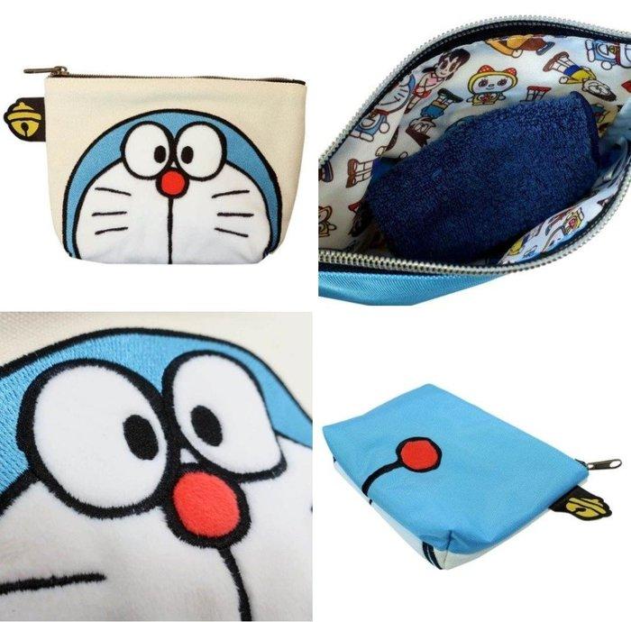 牛牛ㄉ媽*日本進口正版品㊣哆啦A夢化妝包 Doraemon 小叮噹收納包 帆布刺繡船形大臉款