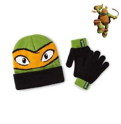 出口美國Ninja Turtles忍者龜米開朗基羅黑反褶款毛線帽+手套組(4~8歲適用)禦寒專用