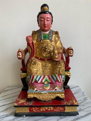 木雕佛像 夫人 臨水夫人 陳靖姑 高1尺3 老神像