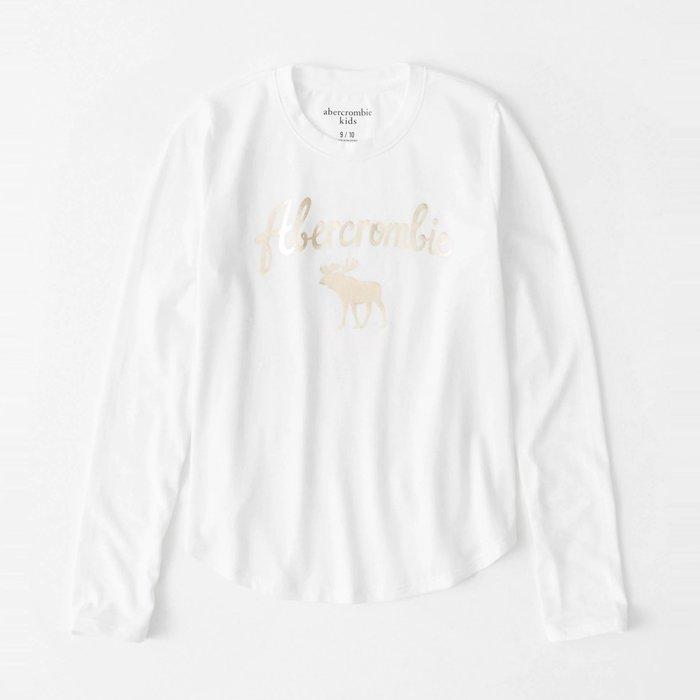【abercrombie kids】【a&f】af女童款長袖T恤金漆字鹿白 F07191118-52