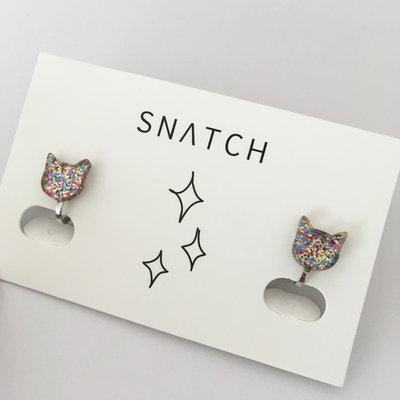 Snatch 樹脂彩色貓臉造型耳環夾式耳環