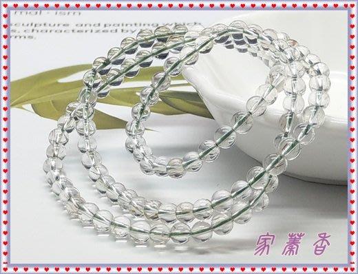 【家蓁香二館】精品特選 清透料 粗絲微絲絨水感 綠髮晶5-5.5mm(3圈)圓珠手鏈(CR-01)
