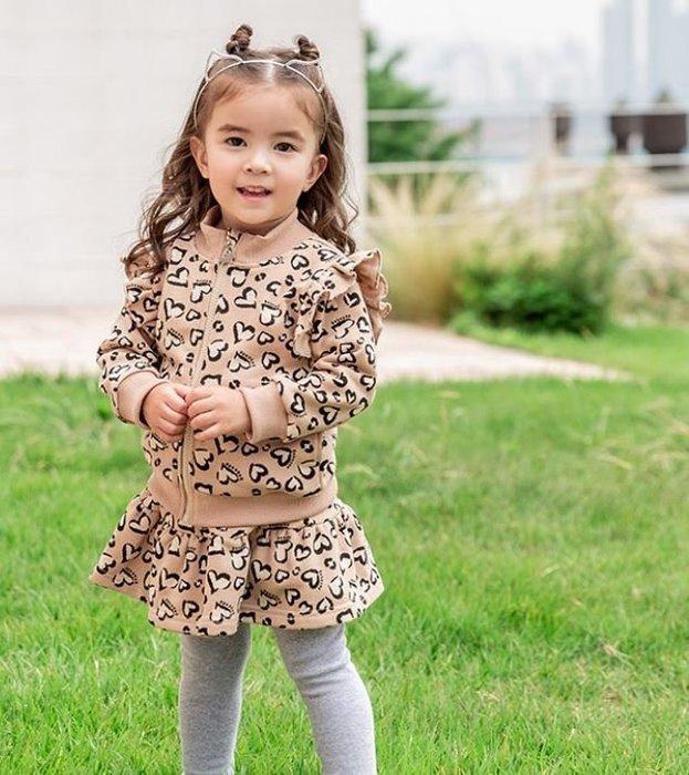 ❤現貨在台C233❤bebezoo韓國品牌秋款女童套裝愛心豹紋夾克棒球服拉鍊衫+裙褲兩件套