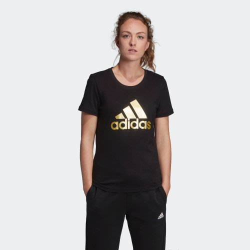 南 2019 10月adidas BADGE OF SPORT METALLIC FM9447 黑金 LOGO 短T 女