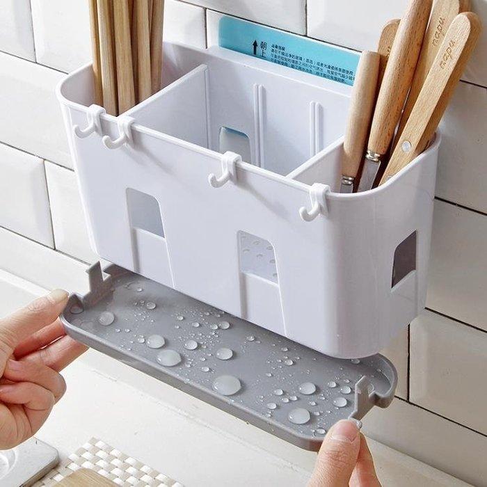 廚房壁掛筷子籠 塑料瀝水筷子架掛式勺子收納架 收納盒筷子筒筷籠