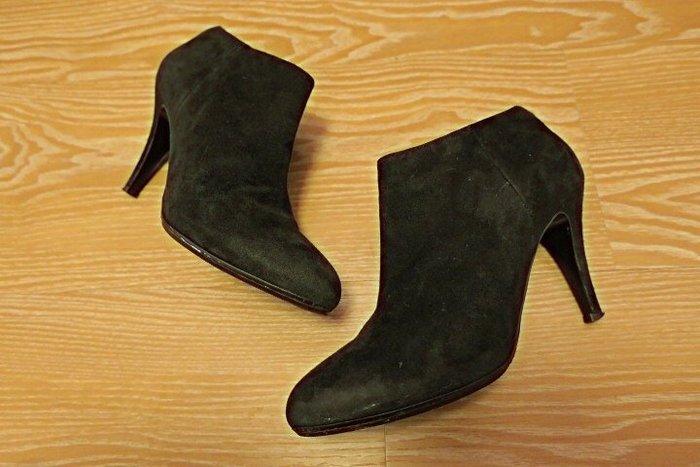 *Beauty*J.CREW 黑色麂皮高跟踝靴 7.5號 PH