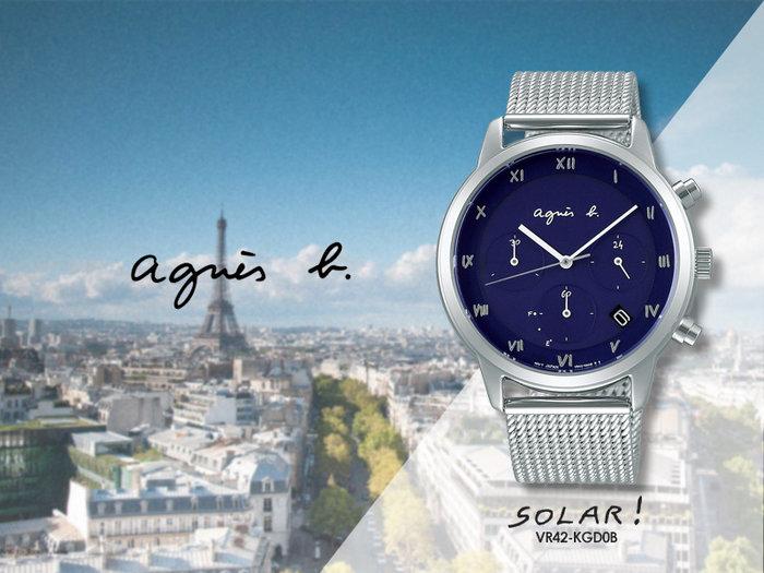 【時間道】agnes b. SOLAR!太陽能手寫刻度三眼計時腕錶/深藍面米蘭帶(VR42-KGD0B)免運費