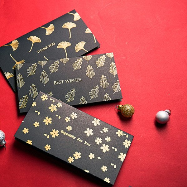 高質感黑金雙色長型賀卡 卡片 祝福卡【JC3648】《Jami Honey》