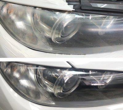 大燈快潔現場施工 BMW 寶馬 320CI 325CI 328CI 原廠車大燈泛黃霧化拋光修復翻新處理