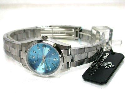 不鏽鋼水藍面盤時尚女錶