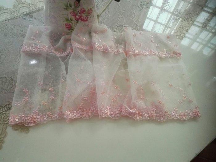 粉紅玫瑰精品屋~高檔粉色繡花蕾絲咖啡簾 短簾~110*25公分
